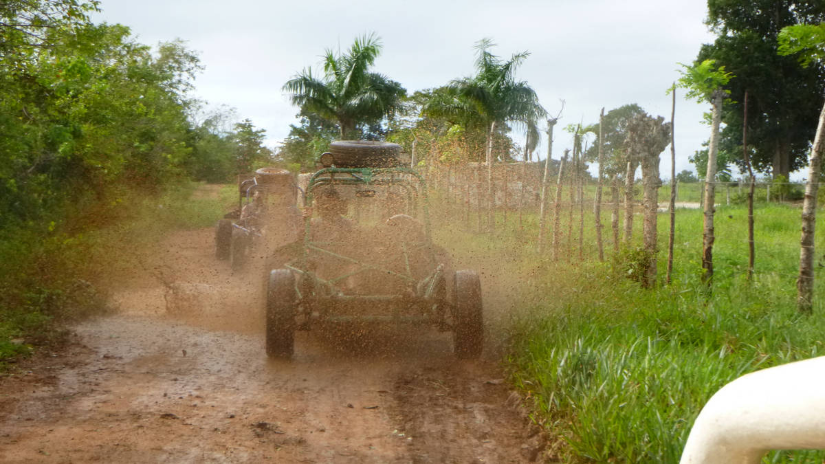 Come with us on excellent Xtreme-Buggy trip, driving on muddy roads of Punta Cana countryside