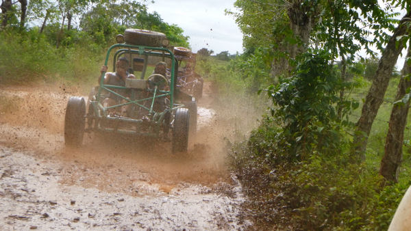 Come with us on action-packed Xtreme-Buggy excursion, driving your Dune Buggy on muddy Punta Cana countryside roads